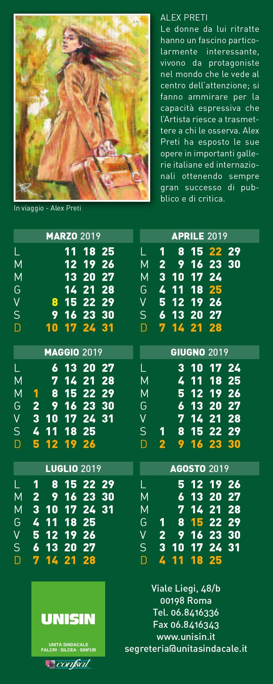 Calendario 2020 Donne.8 Marzo 2019 8 Marzo 2020 Unisin Unita Sindacale
